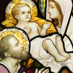 Compilation of  stained glasses showing Holy Family